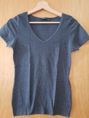 Strenesse T-shirt col en V gris foncé coton
