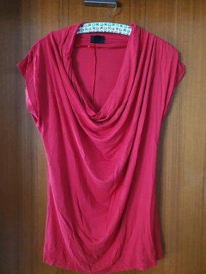 T-Shirt, Wasserfallausschnitt, rot