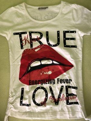 H&M T-shirt biały-czerwony
