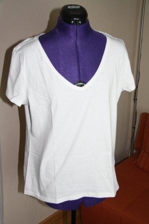 H&M V-Neck Shirt white cotton