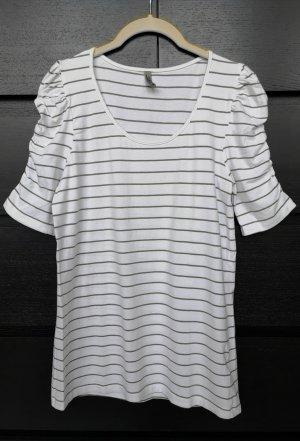 T-Shirt weiß gestreift grau Puffärmel kurzarm