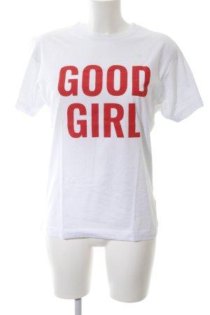 T-Shirt weiß-hellrot Schriftzug gedruckt schlichter Stil