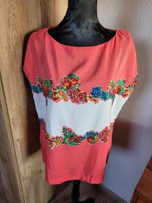T-Shirt weiß korall Blumen Mango