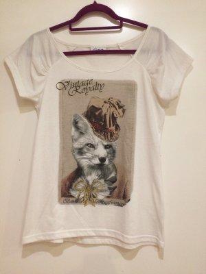 T-Shirt weiß mit Aufdruck Vintage Royality, Gr. 40, Gina