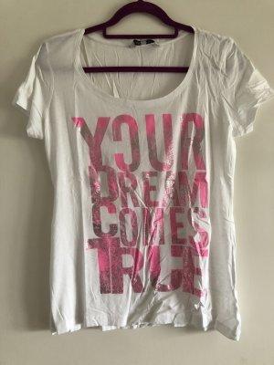 T-Shirt weiß mit Schrift rosa/pink glitzer, Gr. M, Clockhouse