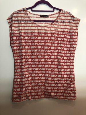T-Shirt weiß rot gestreift Spitze, Gr. XL, Elements