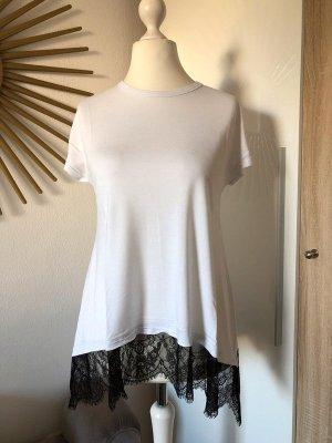 T-Shirt weiß & schwarz mit Spitze, Gr. S von ZARA