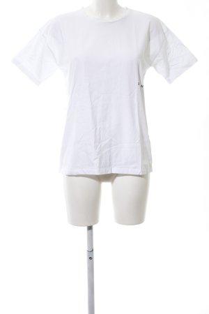 T-Shirt weiß-schwarz Schriftzug gedruckt Casual-Look