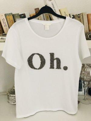 T-Shirt / weiss-Silber / Gr. 36 S