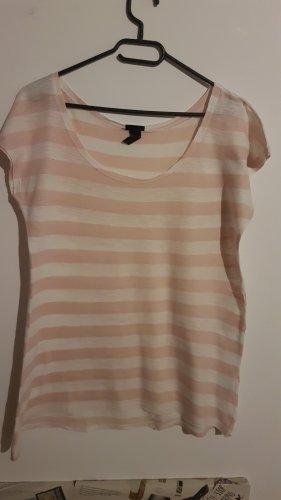 T-Shirt weiß und rosa gestreift