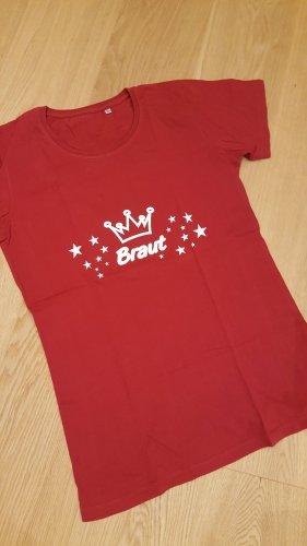 T-Shirt weißer Aufdruck Braut Gr XL Rot