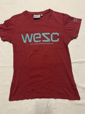 Wesc T-shirt głęboka czerwień