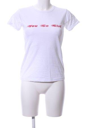 T-Shirt wollweiß-rot platzierter Druck Casual-Look