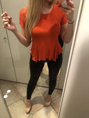 Zara Top peplum naranja-naranja oscuro
