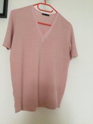 Zara Koszulka z dekoltem w kształcie litery V stary róż