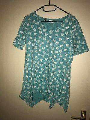 bpc bonprix collection T-Shirt white-turquoise cotton