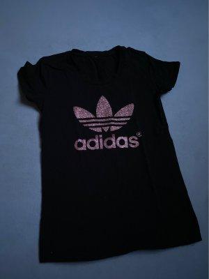 Adidas Maglietta sport nero-rosa