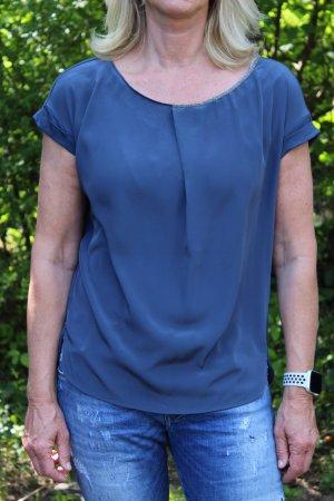 Luisa Cerano Maglia scollo a barca blu acciaio-blu fiordaliso