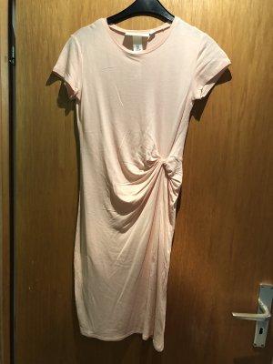 T-Shirtkleid mit Knoten lachs/aprikose 34 XS