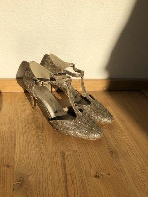 Tamaris Zapatos de tacón con barra en T color oro