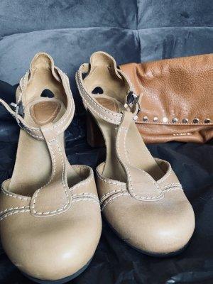 Scholl Zapatos de tacón con barra en T camel Cuero