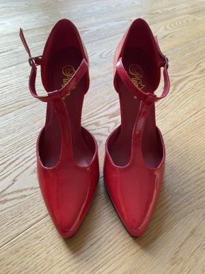 Pleaser USA Zapatos de tacón con barra en T rojo