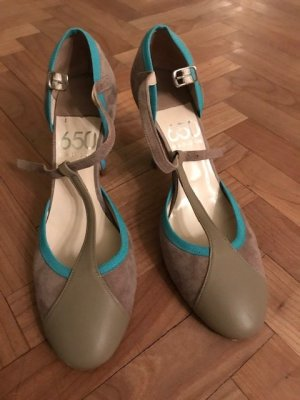 Madison T-Strap Pumps grey brown-turquoise leather