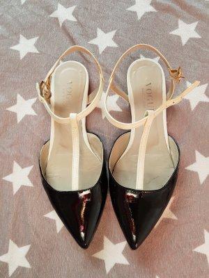 Vogue Ballerines en cuir verni blanc-noir