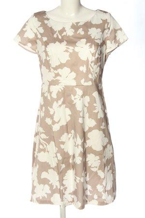 Taifun A-Linien Kleid braun-weiß Allover-Druck Casual-Look