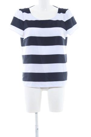 Taifun ärmellose Bluse weiß-dunkelblau Streifenmuster Casual-Look