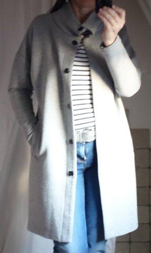 Taifun by Gerry Weber, Longjacke, Sweatjacke, Baumwolle, Baumwoll-Mix, fester Jersey, Kurzmantel, hellgrau, leichte Jacke für Frühling/Sommer, Stehkragen, Druckknöpfe, gerader Schnitt, oversize, leicht überschnitten Ärmel, leichter O-Shape (unten am Saum