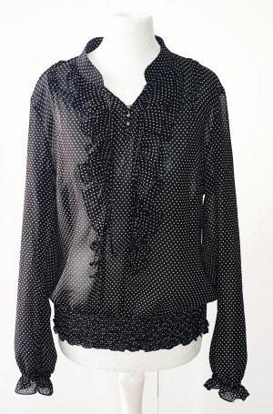 Taifun - Damen Bluse - schwarz / weiß - Minidots -  Schlupfbluse - Gr.36