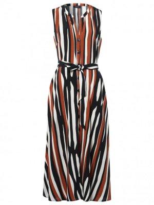 Taifun Damen Sommerkleid Im Streifen-Design Gr.44 nur gewaschen