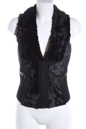 Taifun Fur vest black business style