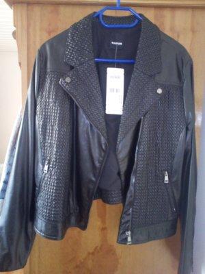 Taifun Biker Jacket black-silver-colored imitation leather