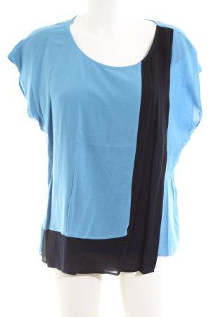 Taifun Kurzarm-Bluse blau-schwarz Casual-Look