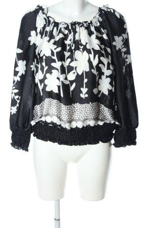 Taifun Langarm-Bluse schwarz-weiß Blumenmuster Casual-Look