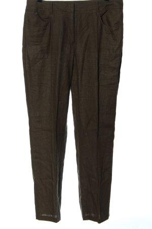 Taifun Lniane spodnie brązowy W stylu casual