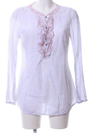 Taifun Rüschen-Bluse weiß-pink Business-Look