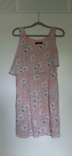 Taifun schickes Sommerkleid Etuikleid mit Volants rosa weiß grau Blumenmuster Gr. 36