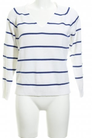 Taifun Separates V-Ausschnitt-Pullover weiß-blau Streifenmuster Casual-Look
