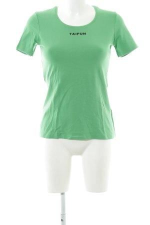 Taifun T-Shirt grün Schriftzug gedruckt Casual-Look