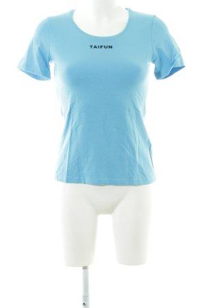 Taifun T-Shirt blau Schriftzug gedruckt Casual-Look