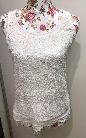 Taifun Top Oberteil florale Spitze Ibiza Shirt weiß