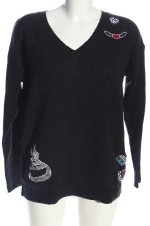 Taifun V-Ausschnitt-Pullover schwarz Casual-Look