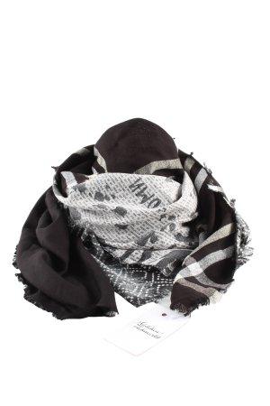 Taifun Bufanda de lana negro-blanco estampado gráfico look casual