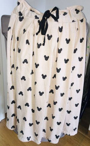 Falda de talle alto crema-negro
