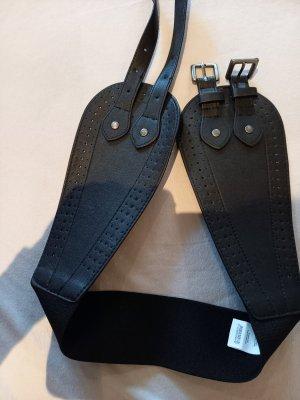 Pieces Cinturón de cuero de imitación negro tejido mezclado