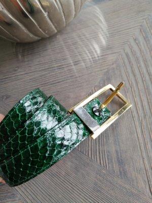 Skórzany pasek złoto-leśna zieleń