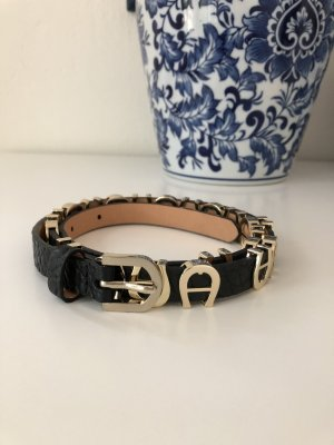 Aigner Waist Belt black-gold-colored leather